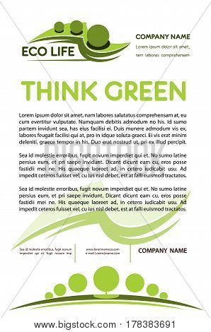 Think green concept. Nature protection and tree planting poster template for environment ecology company. Vector parks or gardens and horticulture landscaping design service