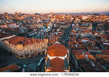 Bird's-eye view Porto at dusk, Portugal.