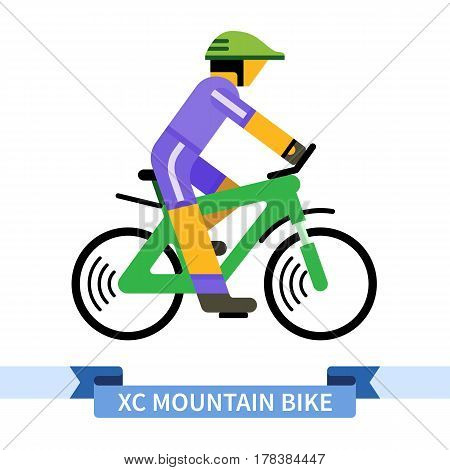 Bicyclist on cross country mountain bike. Simple side view clipart drawing in flat color. Isolated speed sport bicycle vector illustration