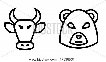 Stock Market Bulls and Bears Thin Line Vector Icon. Flat icon isolated on the white background. Editable EPS file. Vector illustration.