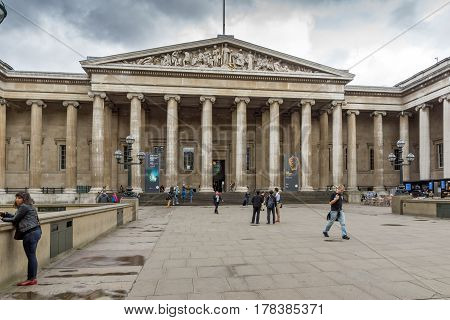 LONDON, ENGLAND - JUNE 16 2016: Outside view of British Museum, City of London, England, Great Britain