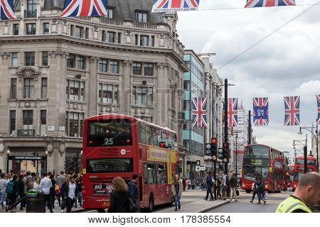 LONDON, ENGLAND - JUNE 16 2016: Clouds over Regent Street, City of London, England, Great Britain