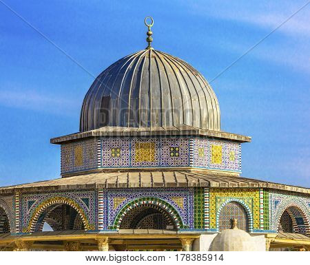 Small Shrine Dome of the Rock Islamic Mosque Temple Mount Jerusalem Israel. Built in 691 One of most sacred spots in Islam where Prophet Mohamed ascended to heaven on an angel in his