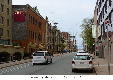 HALIFAX, NS, CANADA - MAY 22, 2016: Historic Hollis Street near Salter Street in downtown Halifax, Nova Scotia, Canada.