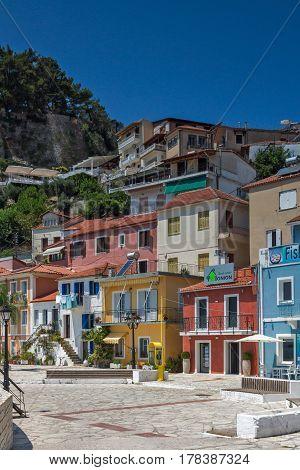PARGA, GREECE JULY 17, 2014: Amazing Panoramic view of town of Parga, Epirus, Greece