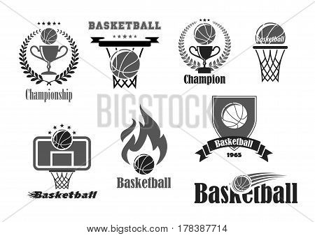 Basketball tournament or championship award badges or sport club symbols set of game ball and basket goal. Vector champion and winner cup prize, contest laurel wreath and victory stars