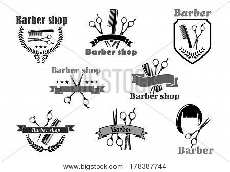 Barber shop or hairdresser salon icons. Vector symbols of hairbrush comb and scissors, hair haircut. Premium badges, wreath ribbons and stars set for coiffeur or hipster trend haircutter sign