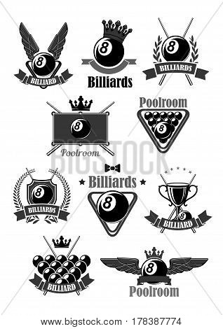 Billiards club or championship symbols. Vector icons for pool game contest of billiard balls in triangle, champion winner cup prize and heraldic laurel wreath with victory crown, wings and stars