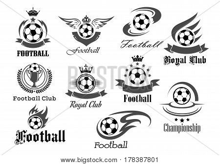 Football royal club icons set. Soccer tournament or championship game award badges templates. Vector symbols of fire ball with wings, goal victory ribbon and winner cup with crown of stars