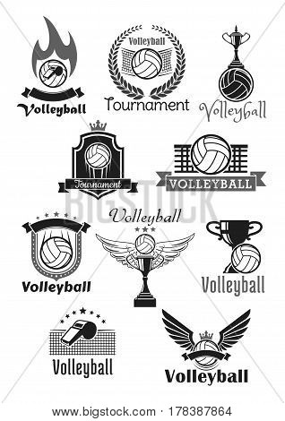 Volleyball tournament awards or sport club symbols and badges set. Vector icons of game ball and winner prize cup award, referee whistle and goal gates with victory laurel wreath and crown