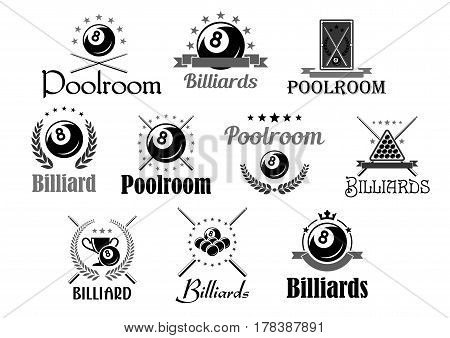 Billiards club or pool room sport tournament awards icons. Vector symbols of billiard cue and balls in triangle, heraldic laurel wreath and champion winner cup prize, victory crown and stars