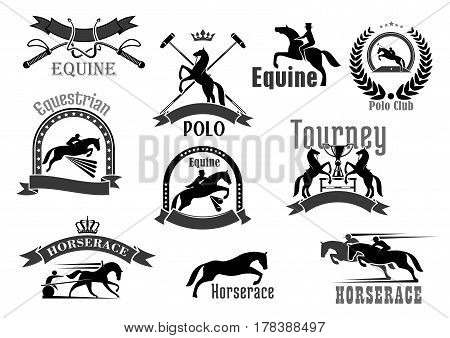 Polo or equine sport club vector badges. Horse races or equestrian jump show and racing contest symbols set. Icons of bat and whip, rider winner or horserace victory cup award and crown laurel wreath poster