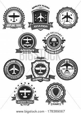 Aviation adventure and airplane tour adventure company or club. Badges round template set of old retro aircrafts, stars and banners for private tourist flight journey sport or air delivery service