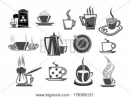 Coffee cups and coffee beans icons for cafe or cafeteria menu. Vector isolated set of hot chocolate mug, strong espresso or latte macchiato or frappe for coffeehouse or shop signs
