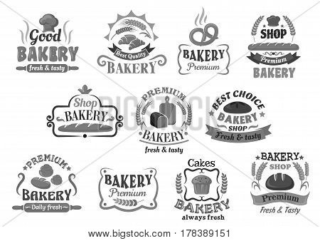 Bakery bread and cakes icon templates of bagel buns and loafs or wheat toasts, chocolate muffin or cupcake pastry, rye bread baguette and croissant bannocks. Vector isolated premium signs or symbols