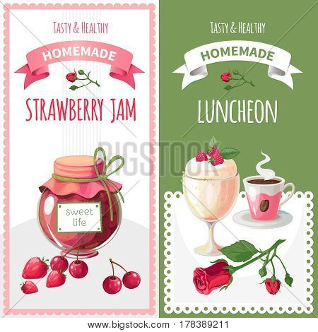 Vector set of two banners on the theme of domestic blank, sweets prepared with their own hands. Delicious strawberry jam. Morning light breakfast. Ice cream and coffee.