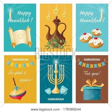 Set of holiday banners on Hanukkah. Sweets and gifts. Jug of oil and menorah