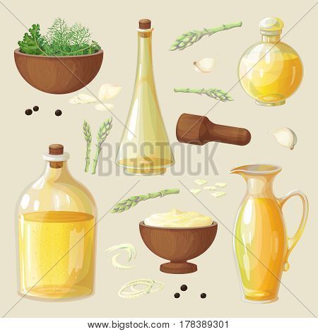 Vector set of bottles and wooden utensils for oils, cooking spices and seasonings. The ingredients and olive oil. Isolated objects on the background.