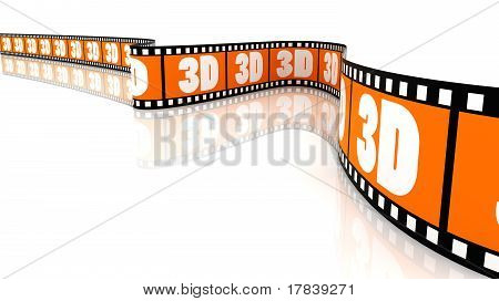 3D Segment color film with word 3d poster