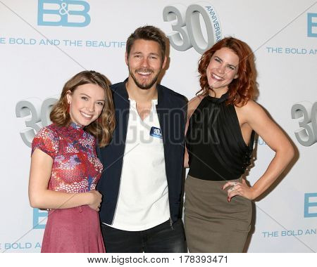 LOS ANGELES - MAR 23:  Courtney Grosbeck, Scott Clifton, Courtney Hope at the celebration of 30 Years of Bold and Beautiful and their 23 Emmy nominations at CBS on March 23, 2017 in Los Angeles, CA