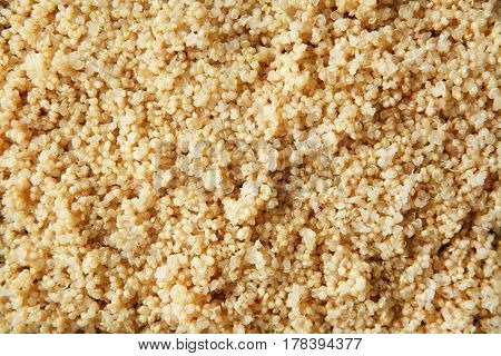 Boiled sprouted organic white quinoa grains, closeup