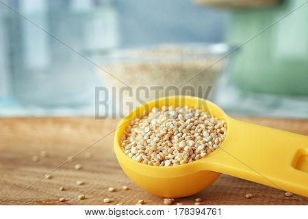 Organic quinoa seeds in spoon, closeup