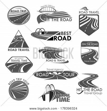 Travel company or tourist trip agency template icons. Road journey ways for car and bus tour. Vector isolated symbols set of highways or motorways adventure routes, bridges and pathway tunnels