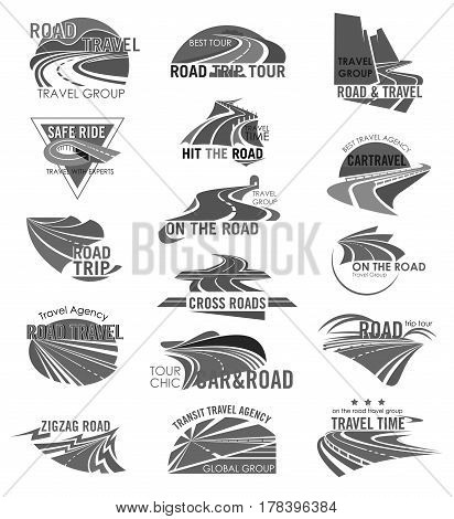 Travel company or tourist agency template icons. Road trip ways for car tour and bus journey with design of highways or motorways adventure routes, bridges and pathway tunnels. Vector isolated set