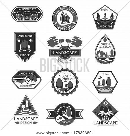 Landscape and gardening service company icons. Home architectural eco planting landscaping design project of garden of green plants and trees. Vector isolated set for eco environment horticulture