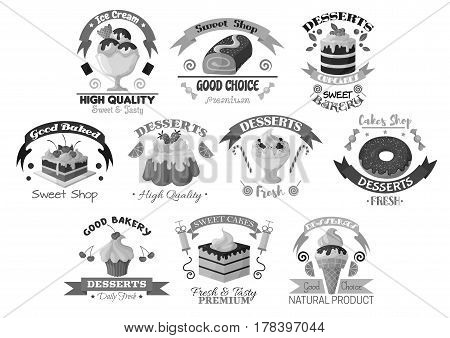 Bakery icons of desserts and cakes. Cafe or cafeteria pastry symbols of chocolate biscuits, ice cream pudding, muffins and torte pies of cheesecake or brownie and gingerbread cookies. Vector set