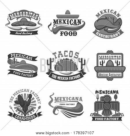 Mexican restaurant and food cafe bar icons. Mexico cuisine tacos tortilla and cactus agave, hot chili pepper jalapeno, sombrero mexican hat and Aztec or Maya bird symbol. Vector isolated templates set