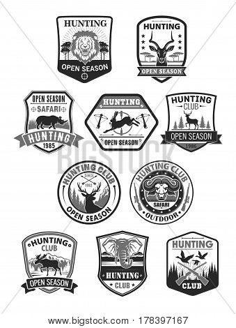 Hunting club badges. Hunt open season or hunter adventure icons wild animals hare rabbit, deer or elk and ducks. African safari hunt lion, gazelle and rhinoceros elephant. Vector isolated symbols set