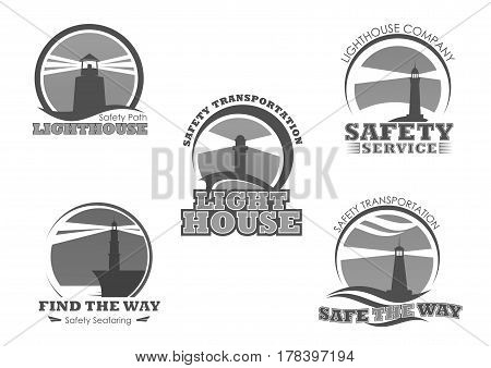 Lighthouse icons or safety seafaring marine beacon. Nautical ship searchlight tower for safe vessel and boat navigation and transport direction. Vector isolated set