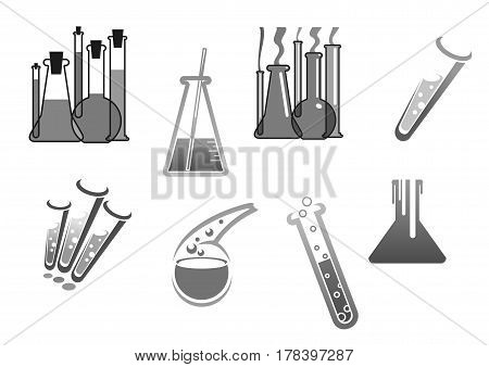 Chemistry and chemical tubes and vials icons. Chemical glass bottles with reagents for laboratory tests research. Medical pharmaceutical or oil biochemical concept design. Vector isolated symbols set