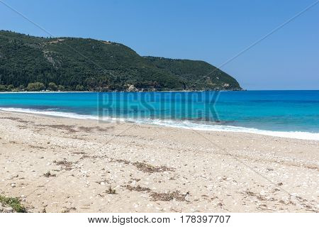 Panoramic view of Agios Ioanis beach with blue waters, Lefkada, Ionian Islands, Greece