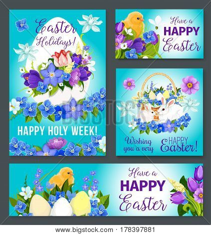 Happy Easter greeting poster cards and banners set. Vector design of Easter eggs and paschal bunny in spring flowers bow wreath of crocuses, daffodils and tulips bunch for Holy Week religion holiday