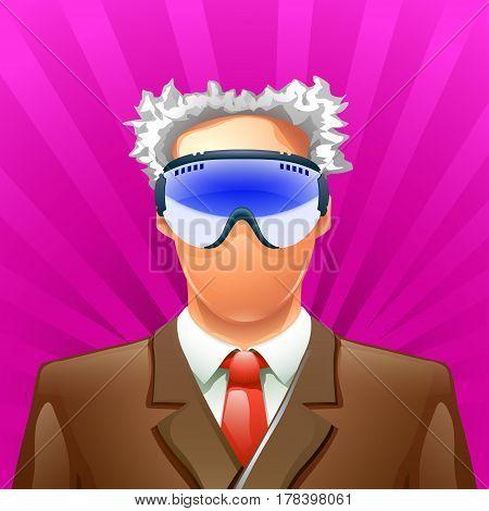 illustration of old man in ski mask on bright background