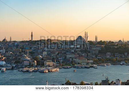 Historic Fatih District And Golden Horn Bay