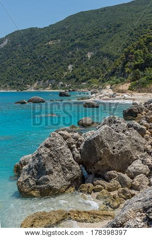 Panoramic view of Agios Nikitas Beach with blue waters, Lefkada, Ionian Islands, Greece