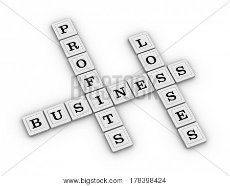 Business Profits and Losses Crossword Puzzle. Risk Manegement concept. 3D illustration on white background.