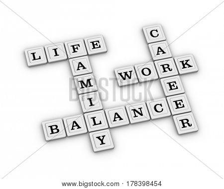 Life Work Balance Crossword Puzzle. 3D illustration on white background.