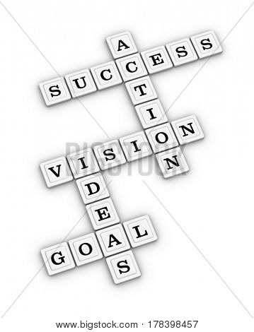 Goal, Idea, Vision, Action, Success Crossword Puzzle. Business Planning Concept. 3D illustration on white background.