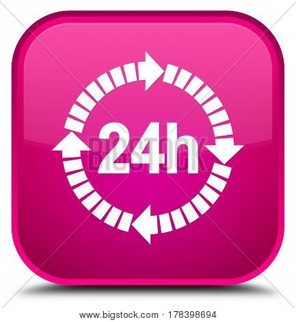 24 Hours Delivery Icon Special Pink Square Button