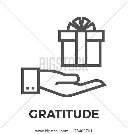 Gratitude Thin Line Vector Icon Isolated on the White Background.