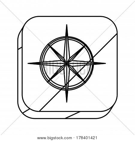 square silhouette button with compass rose vector illustration