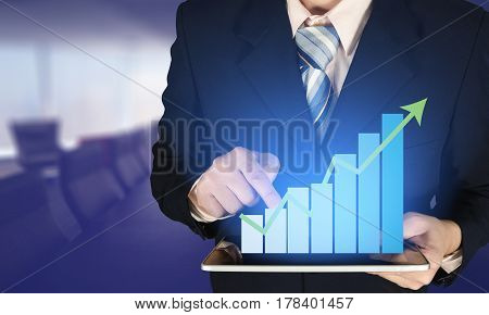 Double Exposure Businessman Touching Growth Bar Chart On Financial Graph, Blurred Meeting Room Backg