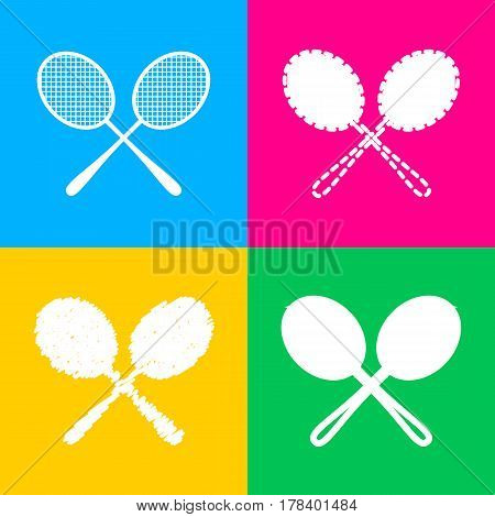 Tennis racquets sign. Flat style black icon on white.