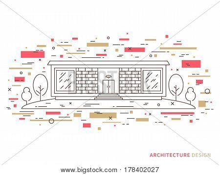 Linear flat architecture landscape design illustration of modern designer brick house mansion homestead with windows door stairs trees. Outline vector graphic concept of design