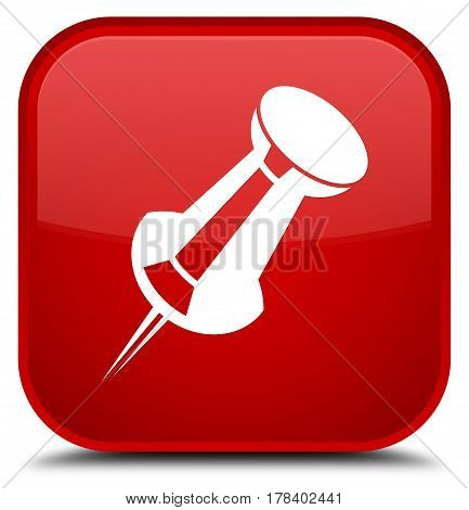 Push Pin Icon Special Red Square Button