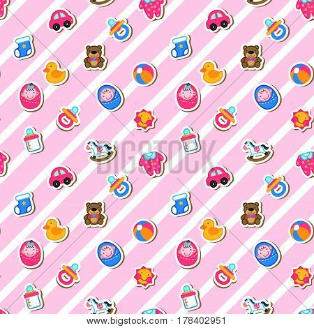 Lovely Baby Supply Seamless Pattern